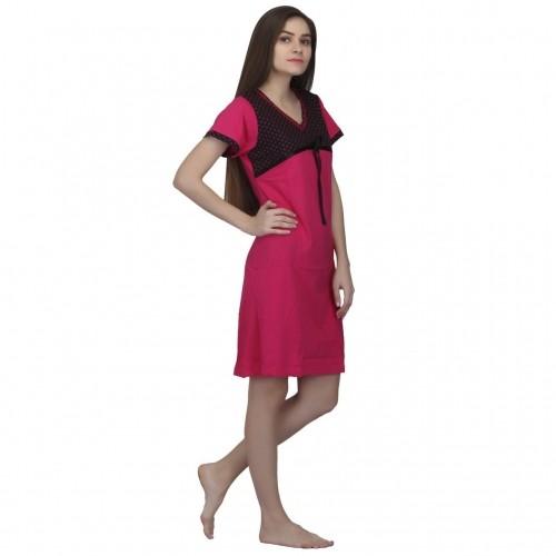 b857124960 ... Valentine Hosiery Cotton Trendy Half Sleeves Short Nighty For Girls    Womens - (Multicolor) ...