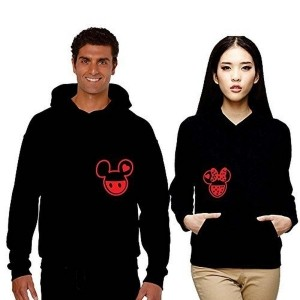 YaYa cafe Anniversary Gifts, TYYC Cute Mickey and Minnie Black Couple Hoodies with Pocket, Romantic Gifts, Wedding Gifts, Love Gifts