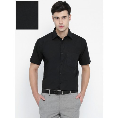 3ea00e8749 Buy Hancock Men Black Slim Fit Solid Formal Shirt online | Looksgud.in