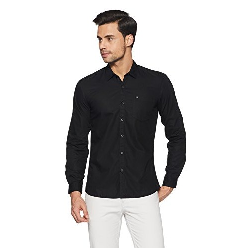 3459d8be Buy Wrangler Black Cotton Solid Slim Fit Casual Shirt online ...