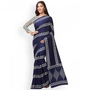 Mirchi Fashion Navy Blue & Off-White Silk Blend Printed Tussar Saree