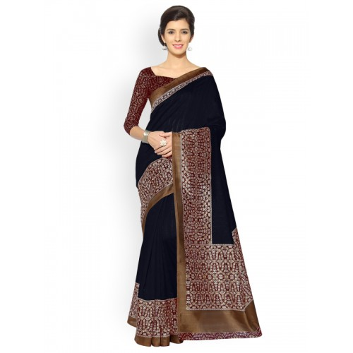 4b868b1477e86 Buy Mirchi Fashion Navy Blue Art Silk Printed Bhagalpuri Saree online ...