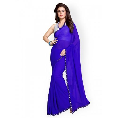 Mirchi Fashion Blue Poly Georgette Embellished Saree