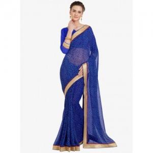 Mirchi Fashion Blue Printed Saree