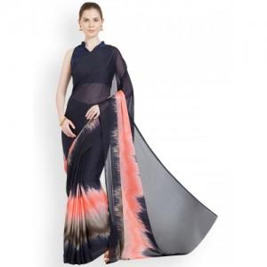 Mirchi Fashion Navy Blue & Peach-Coloured Printed Saree