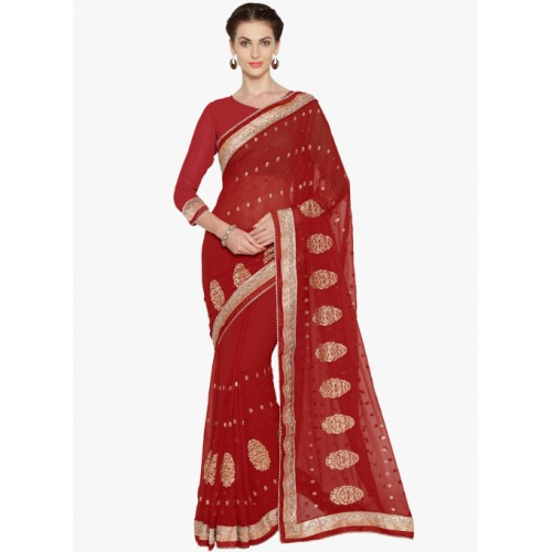 Mirchi Fashion Ravishing Red Faux Georgette Party Wear Saree