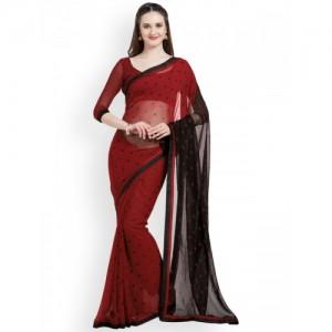 Mirchi Fashion Red Faux Georgette Polka Dot Party Wear Saree
