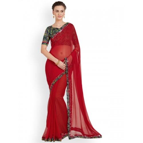 Mirchi Fashion Embellished Bollywood Chiffon Saree(Red)