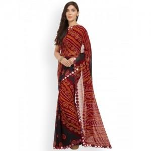 Mirchi Fashion Maroon & Black Bandhani Print Saree