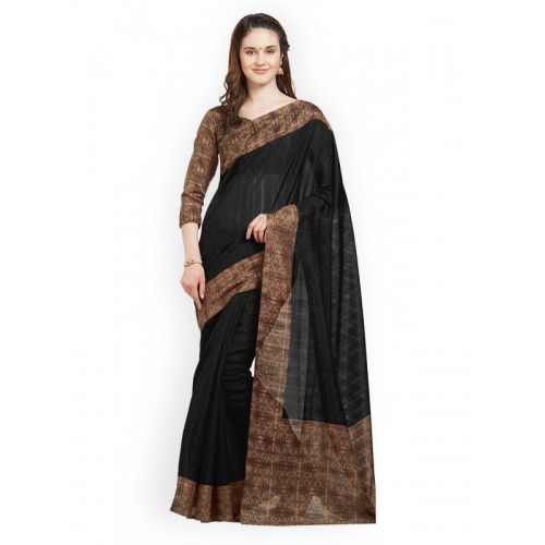 Mirchi Fashion Black Art Silk Border Printed Party Wear Saree