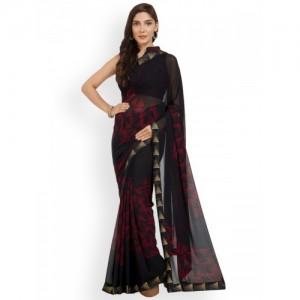 Mirchi Fashion Black & Red Poly Georgette Printed Saree