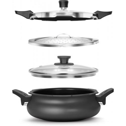 PIGEON Cookware All in 1 Handy Induction Compatible Multipurpose Aluminium Cooker/Kadhai
