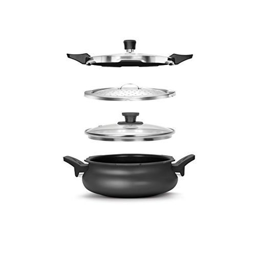 Pigeon By Stovekraft Belita Hard Anodized Super Cooker Set, 3 Ltrs, 4-Pieces, Black