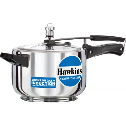 Hawkins Stainless Steel 4 L Pressure Cooker with Induction Bottom(Stainless Steel)