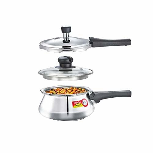 Prestige Silver Stainless Steel  Deluxe Alpha  Pressure Handi with Glass Lid, 1.5 Litres