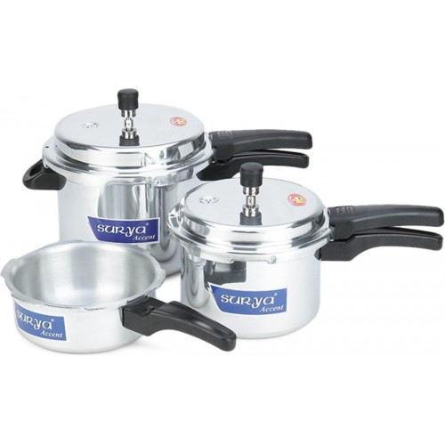 Surya Accent Induction Bottom 2 L, 3 L, 5 L Pressure Cooker with Induction Bottom(Aluminium)