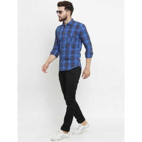 b6153a9622 Buy Kivon Men s Checkered Royal Blue Slim Fit Casual Shirt online ...