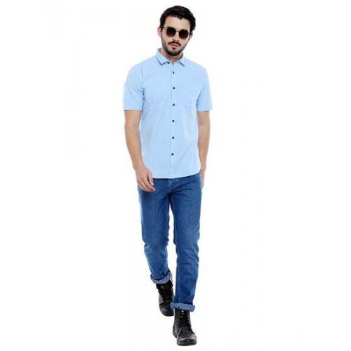 e01a827f8987 Buy Roller Fashions Men's Solid Half Sleeve Light Blue Shirt online ...