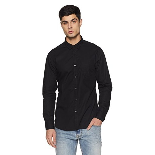 Flying Machine Black Cotton Casual Shirt