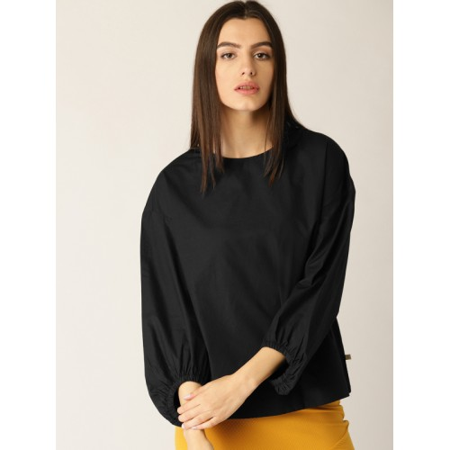 United Colors of Benetton Women Black Solid Boxy Top