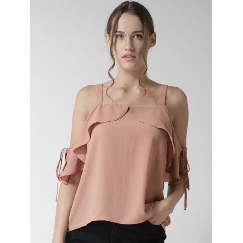 attractive price really comfortable where can i buy Buy FOREVER 21 Women Dusty Pink Solid Cold Shoulder Top ...