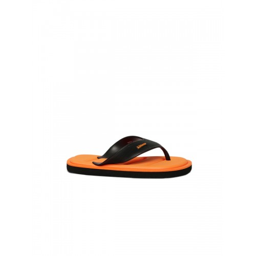 Kittens Boys Black & Orange Solid Thong Flip-Flops