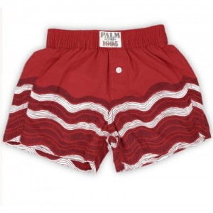 Palm Tree Red Cotton Printed Shorts
