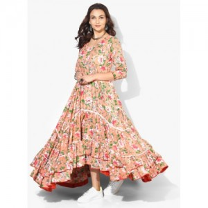 Sangria Printed V Neck Heavily Flared Tiered Anarkali With 3/4Th Sleeves