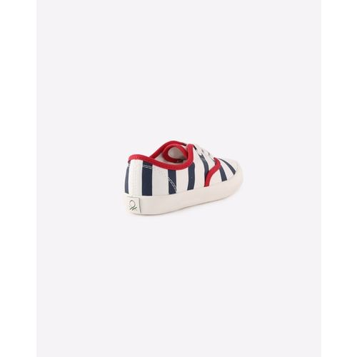 United Colors of Benetton Boys Navy Blue & White Striped Sneakers