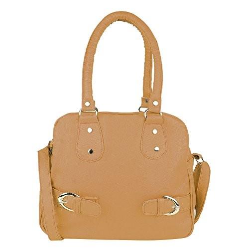 Dndeal Beige PU Solid Women's Handbag