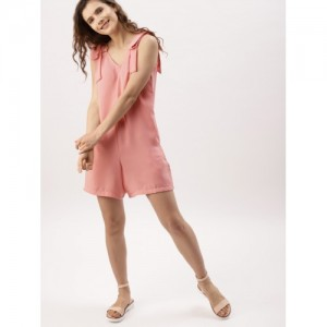DressBerry Pink Polyester Solid Playsuit