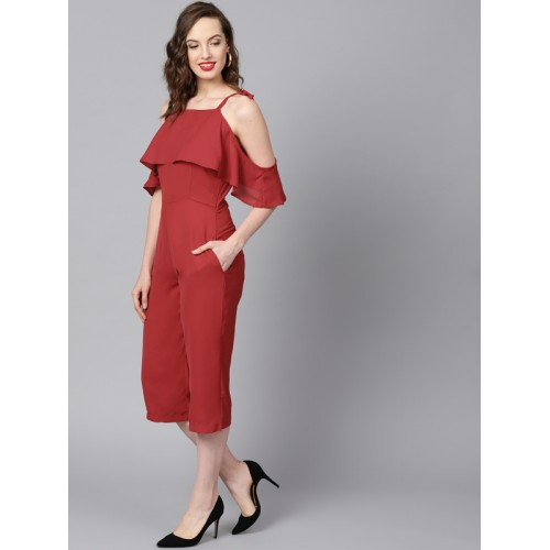 ff4b58233e57 ... STREET 9 Red Polyester Solid Cold-Shoulder Culotte Jumpsuit ...