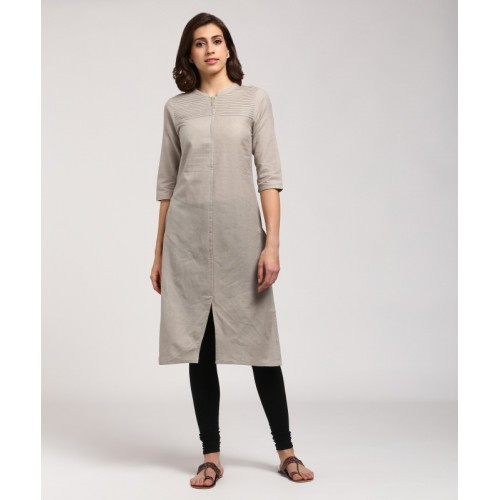 5e03b28444d Buy Aurelia Women s Solid Straight Kurta(Brown) online