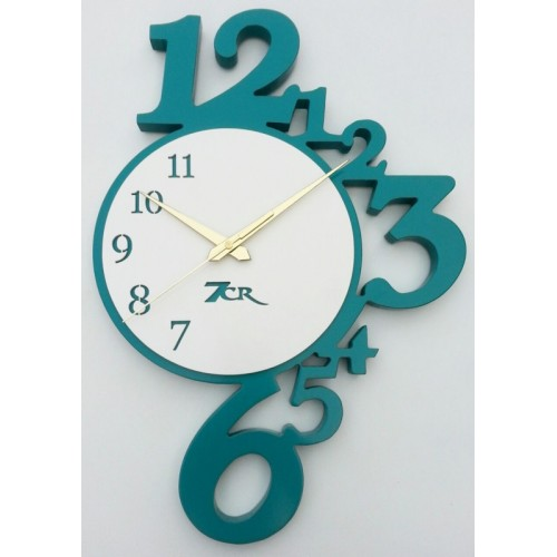 7CR Analog Wall Clock(White, Turquoise (Green), Without Glass)
