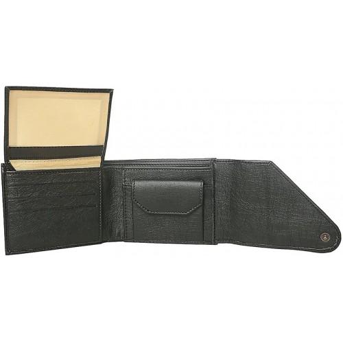 Woodland Side Flap Men Black Artificial Leather Wallet