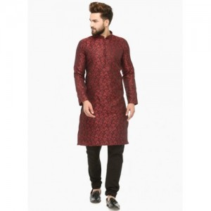 Jompers Men Maroon & Black Self Design Kurta with Churidar