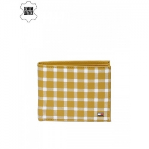 Tommy Hilfiger Men Mustard Yellow Checked Genuine Leather Two Fold Wallet