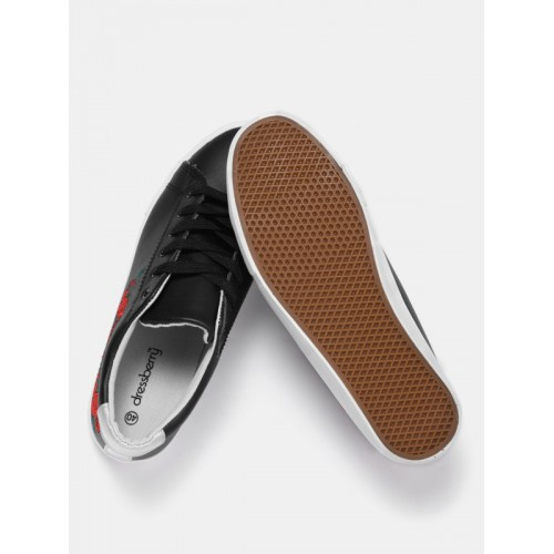 DressBerry Women Black Sneakers with Embroidered Detail