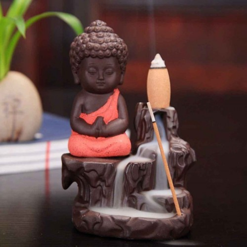 Craft Junction Handcrafted Meditating Little baby Monk Buddha Smoke Backflow Cone Incense Holder With 10 Incense Cones Decorative Showpiece  -  12 cm(Polyresin, Red)
