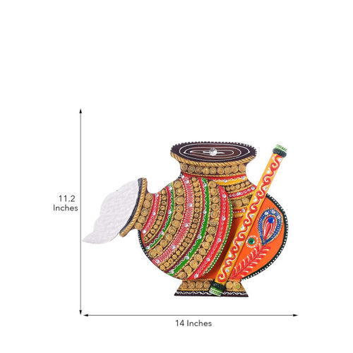 eCraftIndia Multicoloured Wooden & Paper Mache Pot-Shaped Wall Hanging