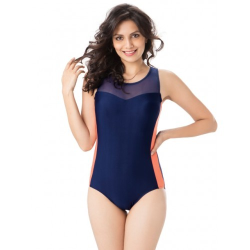 PrettySecrets Navy Blue Solid Swimsuit