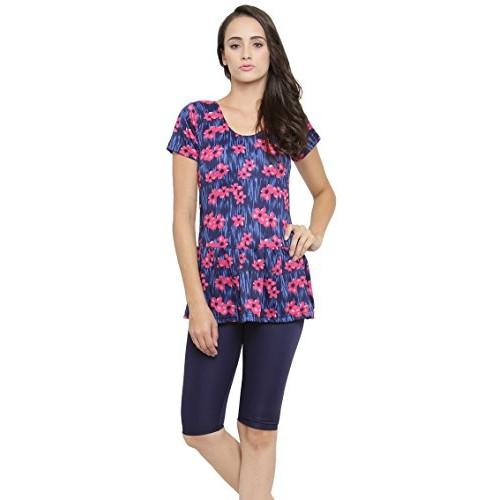 fad5f6f2a4 ... N-Gal Printed Women's Frock Style Blue Print Half Sleeves & Shorts One  Piece Swimwear ...