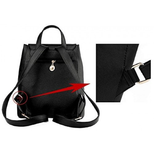 891d2b47e9 Styler king Women Girls Ladies Backpack Fashion Shoulder Bag Rucksack PU  Leather Travel bag (black ...