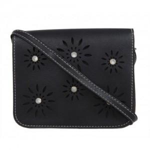 Fur Jaden Women Casual Black PU Sling Bag