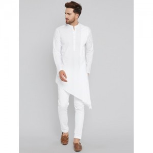 See Designs Men White Solid Kurta with Churidar