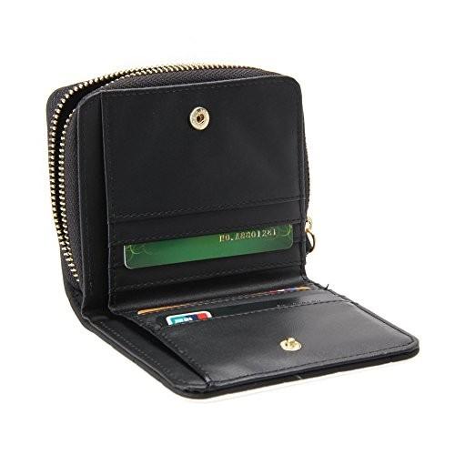 Lorna Black Mini Short Pu Leather Nubuck Wallet