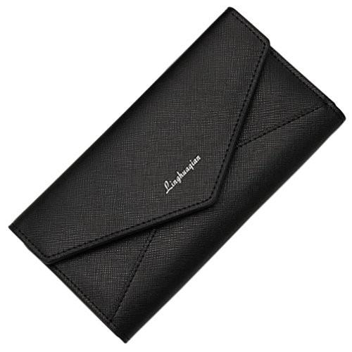 Hunputa Women's Long Section Button Bifold Leather Envelope Wallet Card Coin Wallet Purse