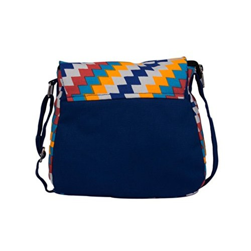 Vivinkaa Multi Blue Canvas Sling Bag for Women