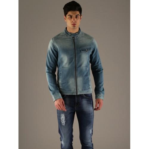 2ab8b7fe3cb3 Buy Flying Machine Men Blue Solid Denim Jacket online