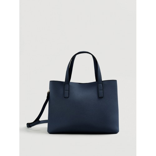 Mango Navy Blue Solid Handheld Bag With Detachable Sling Strap